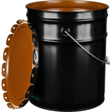 5 Gallon Black Steel Pail & Cover (24 Gauge) UN Rated, Pigmented Phenolic Lining