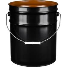 5 Gallon Black Open Head Steel Pail (24 Gauge) UN Rated, Pigmented Phenolic Lining