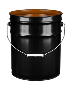 5 Gallon Black Steel Pail (24 Gauge) UN Rated, Pigmented Phenolic Lining