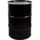"55 Gallon Steel Drum, Black, Unlined, 20GA, Cover w/Leverlock, 2"" & 3/4"" Fittings"