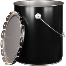 5 Gallon Black Straight-Sided Steel Pail & Cover (28/26 Gauge) UN Rated, Unlined