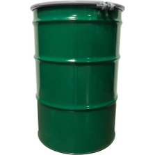 """55 Gallon Steel Drum, Green, UN-Rated, Unlined, 20GA, Cover w/Bolt Ring, 2"""" & 3/4"""" Fittings"""