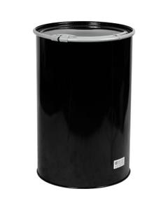 55 Gallon Open Head Black Unlined Carbon Steel Straight-Sided Drum, Non-UN, (1.2/0.9/1.2) 18/20/18 Gauge, Cover & Leverlock Closure, EPDM Gasket
