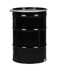 """55 Gallon Steel Drum, Black, UN-Rated, Unlined, 20GA, Cover w/Bolt Ring, 2"""" & 3/4"""" Fittings"""
