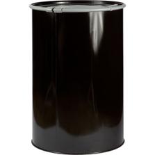 55 Gallon Open Head Black Epoxy Lined Carbon Steel Straight-Sided Drum, Non-UN, (1.2/0.9/1.2) 18/20/18 Gauge, Cover & Leverlock Closure, EPDM Gasket