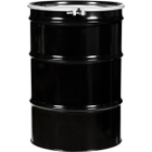 """55 Gallon Steel Drum, Black, UN-Rated, Lined, 20GA, Cover w/Bolt Ring, 2"""" & 3/4"""" Fittings"""