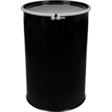 55 Gallon Steel Drum, Black, Unlined, Straight Sided, Cover w/Bolt Ring Closure