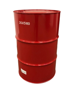 """55 Gallon Red Tight Head Steel Drum, UN Rated, 2"""" &  3/4"""" Fittings, Unlined"""