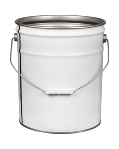 5 Gallon White Steel Pail (26/24 Gauge) UN Rated, Unlined