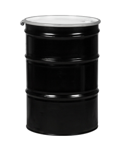 """55 Gallon Steel Drum, Black, UN Rated, Lined, 22GA, Cover w/Bolt Ring, 2"""" & 3/4"""" Fittings"""