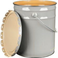 5 Gallon Gray Steel Pail & Cover (26 Gauge) UN Rated, Epoxy Phenolic Lining