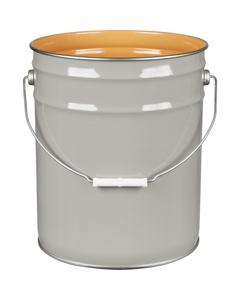 5 Gallon Gray Steel Pail (26 Gauge) UN Rated, Epoxy Phenolic Lining