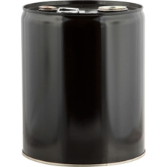 "5 Gallon Black Tight Head Steel Pail, 2"" & 3/4"" Fittings, Unlined"