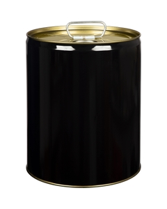 5 Gallon Black Tight Head Steel Pail, Spout Opening