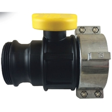 """2"""" Camlock Ball Valve for 75mm IBC Tote Outlets w/Cap and Metal Collar"""