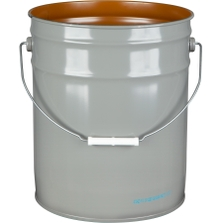5 Gallon Gray Open Head Steel Pail (26 Gauge) UN Rated, Pigmented Phenolic Lining