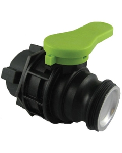 """2"""" Camlock Anti-Backflow Ball Valve for Schutz 75mm IBC Tote Valve Outlets w/Cap and Plastic Collar"""