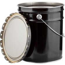 UN Rated 5 Gallon Black Open Head Steel Pail & Lug Cover, Unlined w/ Rust Inhibitor Enamel