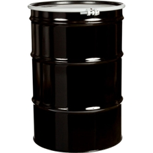 55 Gallon Steel Drum, Black, UN-Rated, Lined, 20GA, Cover w/Bolt Ring