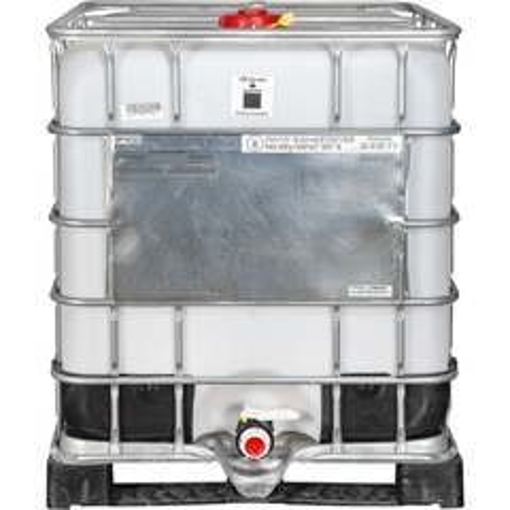 "275 Gallon Rebottled IBC Tote with 2"" NPT Valve, Plastic Pallet"