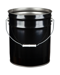 5 Gallon Black Steel Pail (26 Gauge) UN Rated, Unlined, Dish Cover Available