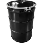 55 Gallon Black Steel Drum, UN Rated, Unlined, Cover w/Bolt Ring