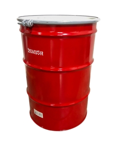 """55 Gallon Steel Drum, Red, UN-Rated, Unlined, 20GA, Cover w/Bolt Ring, 2"""" & 3/4"""" Fittings"""