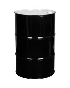 "55 Gallon Black Tight Head Steel Drum, UN Rated, 2"" & 3/4"" Nylon Fittings, Unlined"