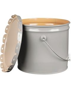 3.5 Gallon Gray Steel Pail & Cover, UN Rated, Epoxy Phenolic Lining
