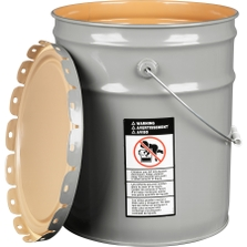5 Gallon Gray Steel Pail & Cover (24 Gauge) UN Rated, Epoxy Phenolic Lining