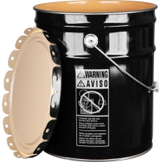 5 Gallon Black Steel Pail & Cover (24 Gauge) UN Rated, Epoxy Phenolic Lining
