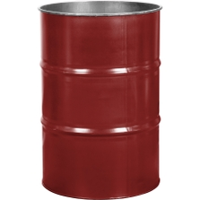 55 Gallon Mobil Red Steel Drum, Reconditioned (No Cover)