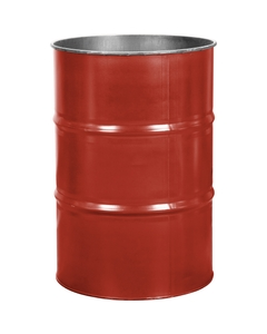 55 Gallon Red Orange Steel Drum, Reconditioned (No Cover)