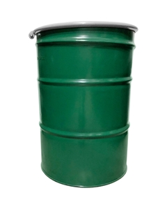 """55 Gallon Green Steel Drum, Reconditioned, UN Rated, Cover w/Bolt Ring Closure, 2"""" & 3/4"""" Fittings, Unlined"""