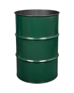 55 Gallon Steel Drum, Green, Reconditioned, Unlined (No Cover)