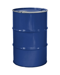 """55 Gallon McWhorter Blue Steel Drum, Reconditioned, Unlined, Cover w/Lever Lock Ring, 2"""" & 3/4"""" Fittings"""