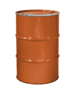 """55 Gallon Sun Orange Steel Drum, Reconditioned, Unlined, Cover w/Lever Lock Ring, 2"""" & 3/4"""" Fittings"""