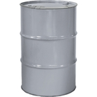 """55 Gallon Silver Steel Drum, Reconditioned, Unlined, Cover w/Lever Lock Ring, 2"""" & 3/4"""" Fittings"""