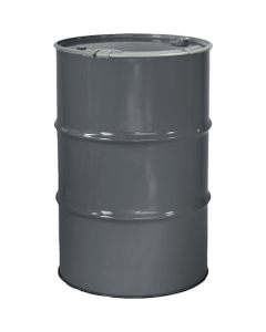 """55 Gallon Durkee Gray Steel Drum, Reconditioned, Unlined, Cover w/Lever Lock Ring, 2"""" & 3/4"""" Fittings"""