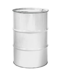 """55 Gallon White Steel Drum, Reconditioned, Unlined, Cover w/Lever Lock Ring, 2"""" & 3/4"""" Fittings"""