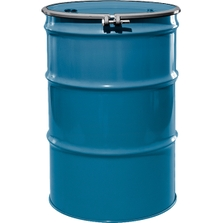 """55 Gallon Ashland Blue Steel Drum, Reconditioned, UN-Rated, Unlined, Cover w/Bolt Ring, 2"""" & 3/4"""" Fittings"""