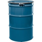 """55 Gallon Chevron Blue Steel Drum, Reconditioned, UN-Rated, Unlined, Cover w/Bolt Ring, 2"""" & 3/4"""" Fittings"""