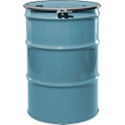 """55 Gallon Light Blue Steel Drum, Reconditioned, UN-Rated, Unlined, Cover w/Bolt Ring, 2"""" & 3/4"""" Fittings"""