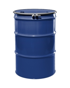 """55 Gallon McWhorter Blue Steel Drum, Reconditioned, UN-Rated, Unlined, Cover w/Bolt Ring, 2"""" & 3/4"""" Fittings"""