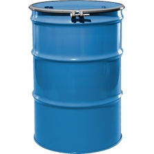 """55 Gallon PPG Blue Steel Drum, Reconditioned, UN-Rated, Unlined, Cover w/Bolt Ring, 2"""" & 3/4"""" Fittings"""