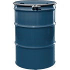 """55 Gallon Superior Blue Steel Drum, Reconditioned, UN-Rated, Unlined, Cover w/Bolt Ring, 2"""" & 3/4"""" Fittings"""