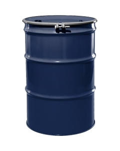 """55 Gallon Valvoline Blue Steel Drum, Reconditioned, UN-Rated, Unlined, Cover w/Bolt Ring, 2"""" & 3/4"""" Fittings"""