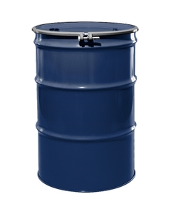 """55 Gallon Waste Blue Steel Drum, Reconditioned, UN-Rated, Unlined, Cover w/Bolt Ring, 2"""" & 3/4"""" Fittings"""