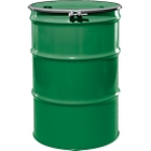 """55 Gallon Asco Green Steel Drum, Reconditioned, UN-Rated, Unlined, Cover w/Bolt Ring, 2"""" & 3/4"""" Fittings"""
