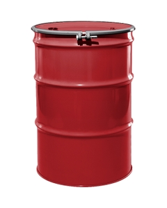"""55 Gallon Citgo Red Steel Drum, Reconditioned, UN-Rated, Unlined, Cover w/Bolt Ring, 2"""" & 3/4"""" Fittings"""